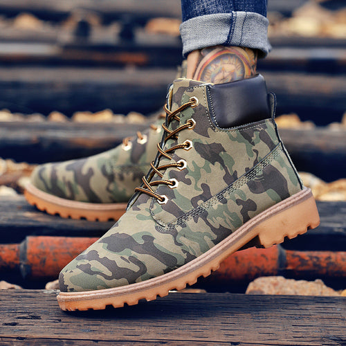 Tie With PU High Help Camouflage Men's Boot
