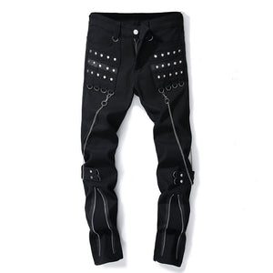 Chain Zippered Casual Long Pants Men's Jeans