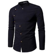 Cutting Double-row Buttoned Long Sleeves Men's Shirt