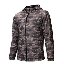 Hooded Camouflage Long Sleeve Zippered Men's Coat