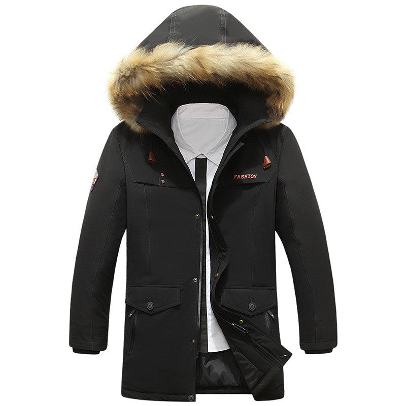 Brief Hooded Warm Zippered Men's Parka Jacket
