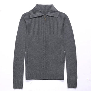 Thickened Solid Color Polyester Long Sleeve Men's Sweater