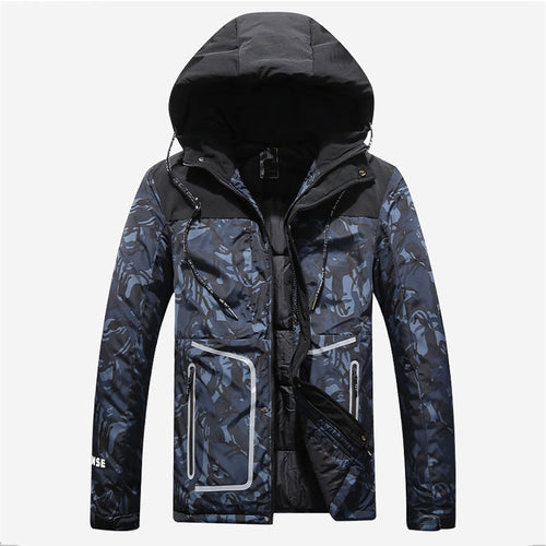 Camouflage Hooded Pocket Nylon Hit Color Men's Down Coat
