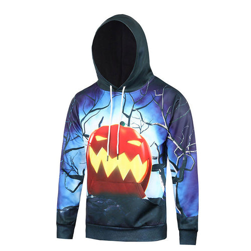 Lace Up Patchwork Pumpkin Loose Men's Hoodies