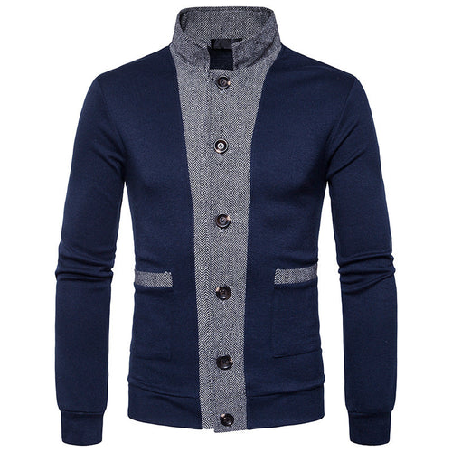 Hit Color Casual Cotton Stand Collar Men's Coat