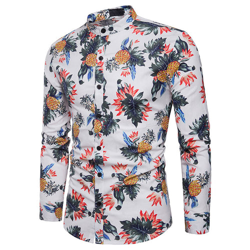 Casual Geometric Hit Color Slim Men's Shirts