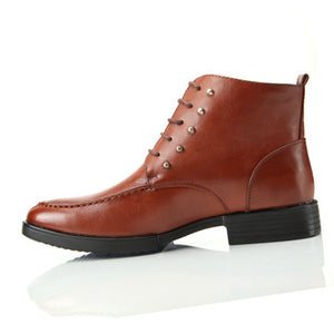 Leather Rivet Plain Men's Boots