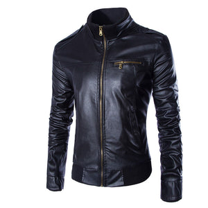 Stand Collar Zipper Epaulet Casual Men's Leather Coat