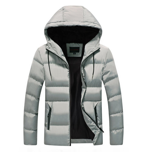 Striped Anti Freeze Hood European Men's Down Coat