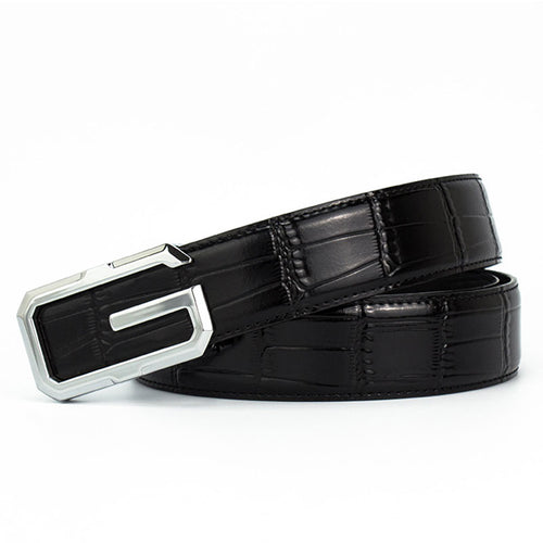 Genuine Leather Smooth Buckle Croco Men's Belts