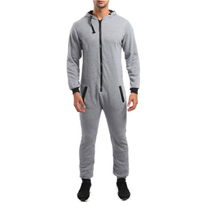 Pure Color Zippered Comfortable Hooded Onesies