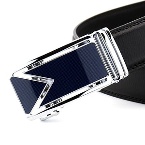 Automatic Buckle Solid Color Leather Men's Belts