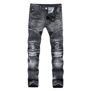 Broken Hole Zipper Jeans