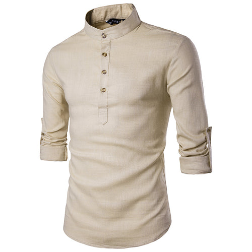 Plain Pocket Stand Collar Casual England Men's Shirt
