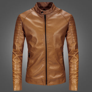 Punk Stand Collar Windproof Men's Leather Coat