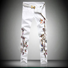 Embroidered White Slim Jeans