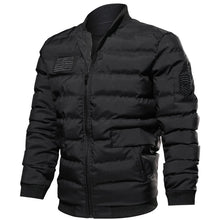 Heating Vertical Collar Zipper Men's Parka Jacket