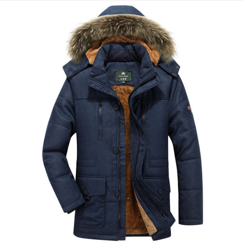 Fur Collar Detachable Polyester Warm Pocket Men's Parka Jacket