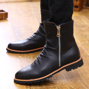Leather Retro Increase Zipper Men's Boots