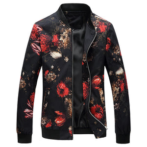 Printed Colour Collar Zippered Men's Jacket