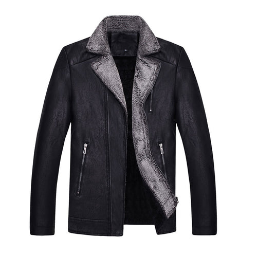 PU With Velvet Thickened Fur Collar Loose Men's Leather Coat