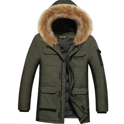 Hooded Zip-up Long Sleeve Pure Color Men's Parka Jacket