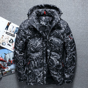 Thickened Hooded Camouflage Loose Men's Down Coat