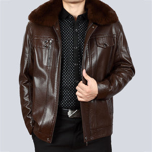 Plus Size Fur Collar Turn-down Collar Zippered Solid Color Men's Leather Coat