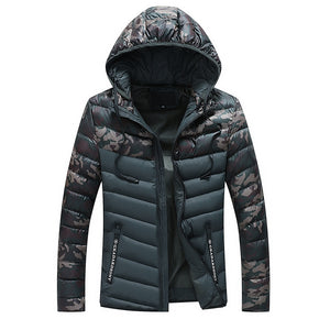 Camouflage Windproof Patchwork Stripe Men's Down Coat