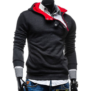 Hooded Pullover Asymmetric Cotton Blends Men's Hoodies