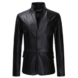 Stand Collar Single-Breasted Men's Leather Coat