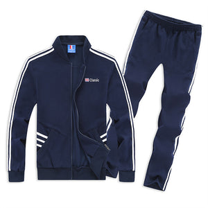 Plus Size Alphabet Stripe Retro Driving Men's Tracksuit