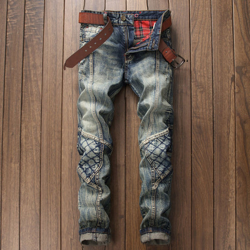 Lattice Pattern Worn Straight Pants Men's Jeans
