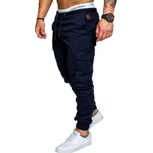 Plain Long Pants Pocket Casual Cotton Men's Casual Pants