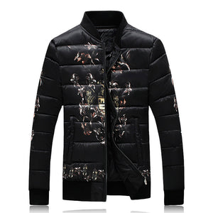 Printed Round Neck Thickened Warm Plus Size Men's Down Coat