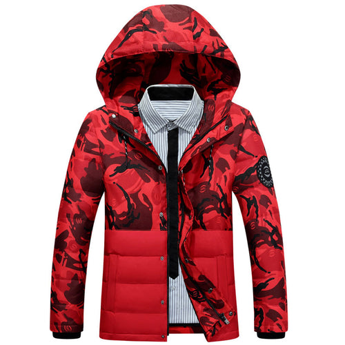 Casual Thickened Hooded Camouflage Slim Men's Down Coat