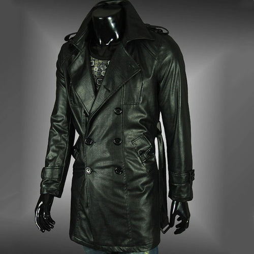 PU Lapel Epaulet Long Sleeve Plain Men's Leather Coat