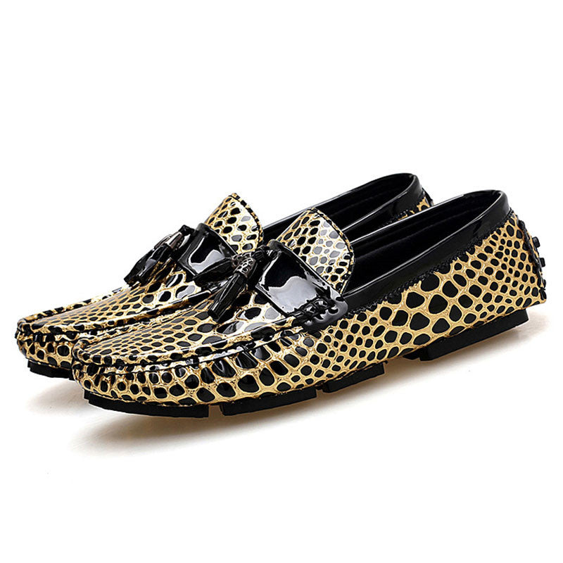 Leopard Print Leather Tassel Men's Loafers