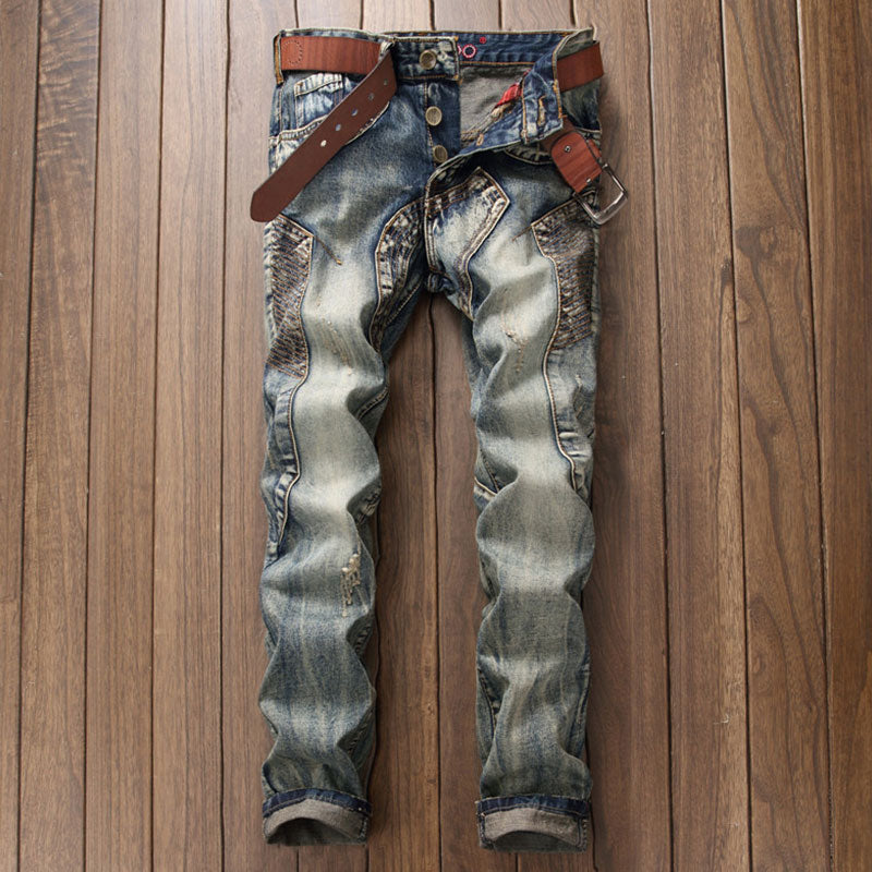 Worn Patchwork Casual Color-blocked Men's Jeans