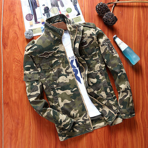 Camouflage Stand Collar Korean Casual men jacket