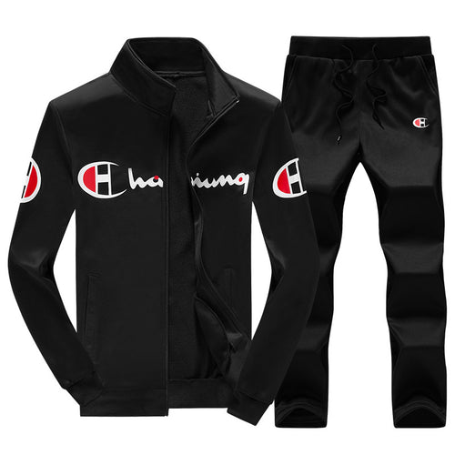 Letter Pattern Long Sleeve Smooth Men's Sports Suit