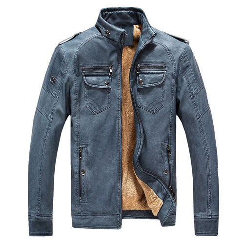 Stand Collar PU With Velvet Loose Casual Men's Leather Coat