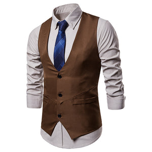 V-collar Single-breasted Solid Color Men's Vest Jacket