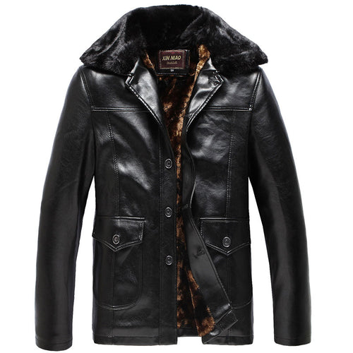 PU Thicken Stripe Pocket Button Casual Men's Leather Coat