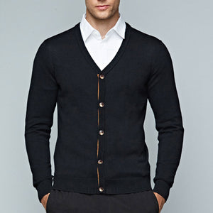 Pure Color Single-Breasted Slim Men's Sweater