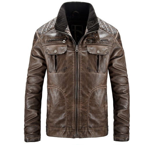 Long Sleeve Casual Pocket Zippered PU Stand Collar Men's Leather Coat