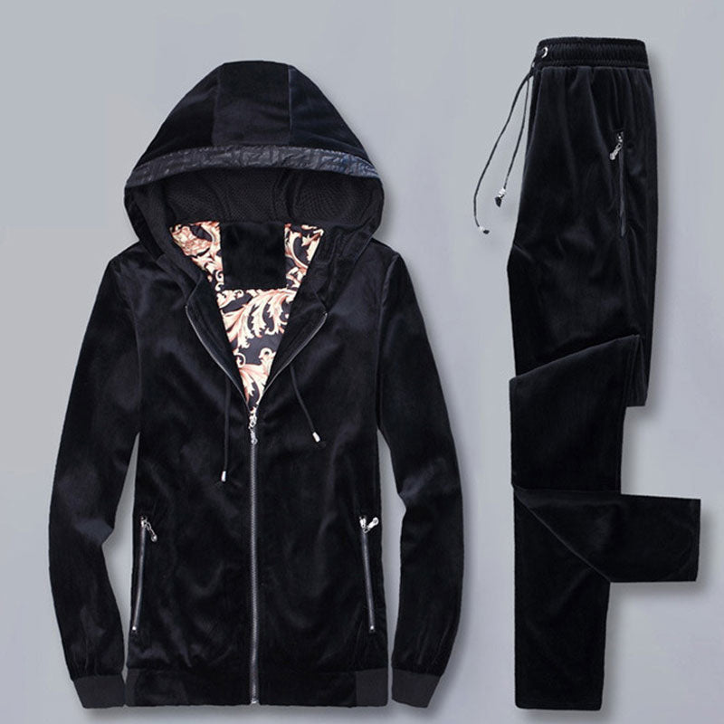 Pleuche Long Sleeve Hooded Men's Sports Suit