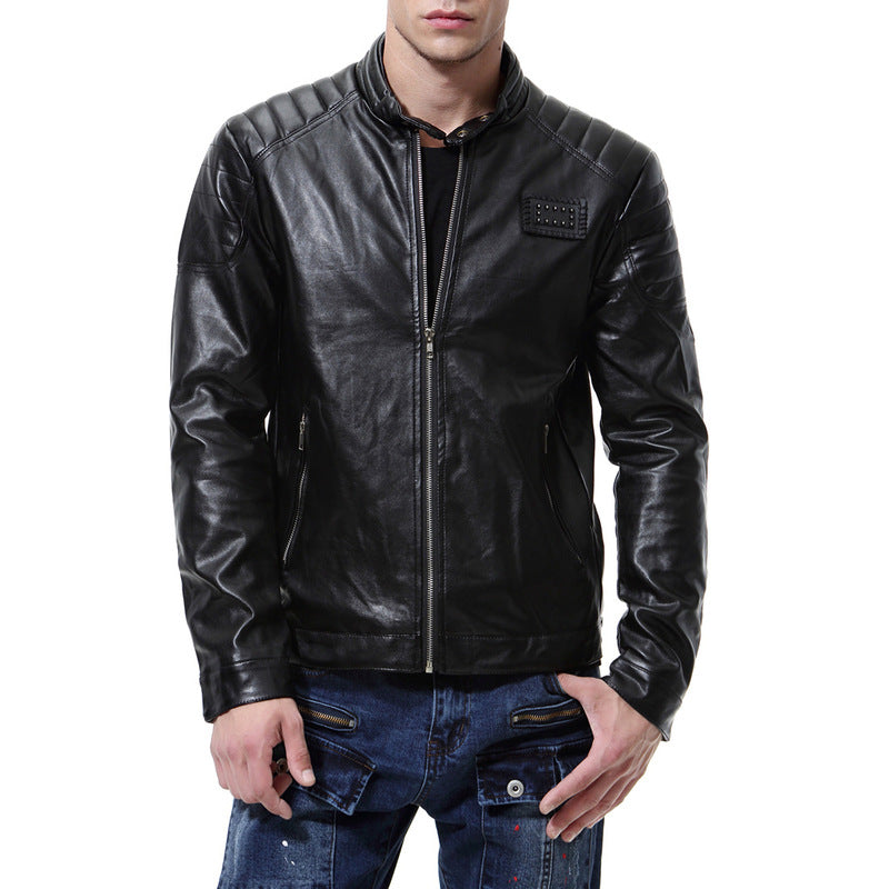 Cultivate Oneself Pure Color Zippered Pocket Men's Leather Coat