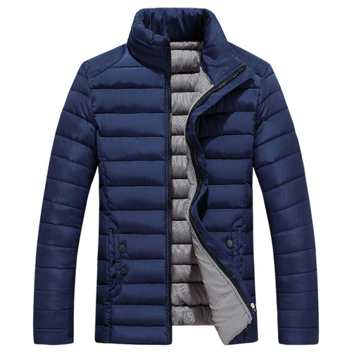 Polyester Stand Collar Button Solid Color Men's Down Coat