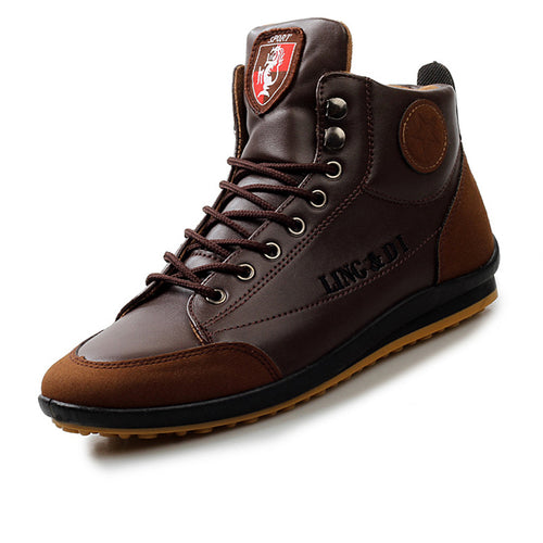 High-help Casual Leather Stitching Men's Boots